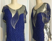 Blue and Silver Sequined Top