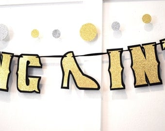 60th Birthday Banner -STEPPING INTO 60 Banner- 60th 70th 80th 90th Birthday Decorations - Gold Glitter on Black
