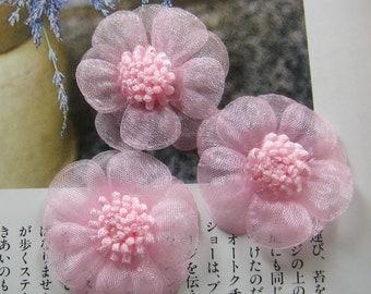 8 pcs - 30mm chiffon flower appliques - AP011
