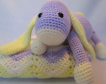 Baby blanket afghan  bunny cream purple yellow or CHOOSE YOUR COLORS