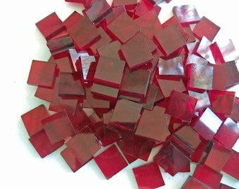150 Red 1/2 Inch Glass Mosaic Tiles