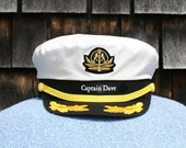 Personalized Yacht CAPTAIN'S HAT perfect for Sailing and any Nautical or Sea Worthy occasion Style #210