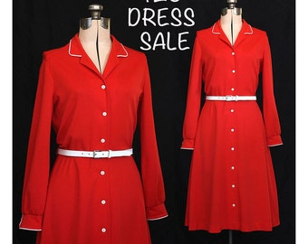 SALE! Vintage 70s Siren Red Dress with White Piping