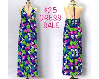 SALE! Vintage 60s Summer Blossum Maxi Dress