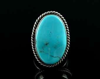 Size 8.25 - 8.5 Vintage Running Bear Sterling Silver Large Oval Turquoise Ring