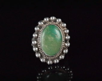 Ring, Size 6.25, Sterling Silver, Green Turquoise, Silver Beaded Edge, Vintage, Oval Shaped Ring