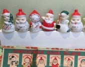 Place Card Holders 9 Vintage Christmas Figurines Japan Porcelain Party Table Name Plates Santa Snowmen Angel Figures Original Box Red Green