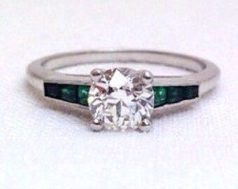 Art Deco Fine Quality Engagement Art Deco Diamond Emerald Ring