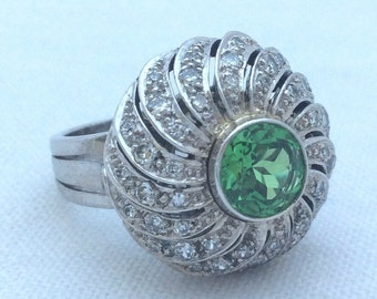 1950's Deco Tsavorite and Diamond Cocktail Ring