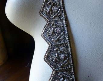 """9"""" Beaded Exquisite Trim no 17bl  for Headpieces, Handbags, Belly Dance Costumes, Jewelry Design, Home Decor."""