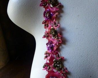 "Fuchsia Beaded Trim 18""  Pink for Headbands, Costume or Jewelry Design, Crafts"