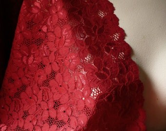 RED Stretch Lace Wide for Lingerie, Costume Design STR 1096red