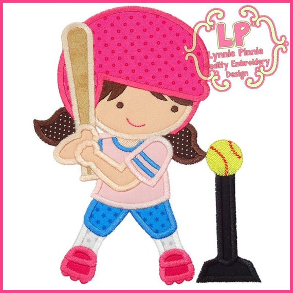 T Ball Girl Applique 4x4 5x7 6x10 Svg Machine Embroidery