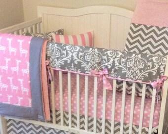 Baby Girl Crib Bedding Set Pink and Gray Giraffes Damask Chevron