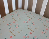 Fitted Crib Sheet or Changing Pad Cover - coral, mint and gold - roses and triangles