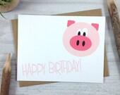 Birthday Card, Happy Birthday Greeting Card, Children's Birthday Card, Farm Animal Card, Pig Card - Single
