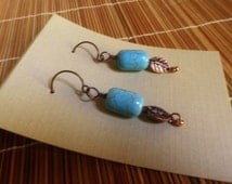 Turquoise howlite and copper LEAF earrings