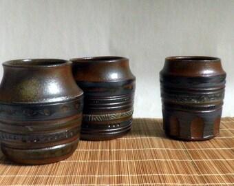 handmade Stoneware Vase / pot,  carved surface