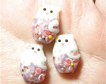 DESTASH -- One (1) Pink, Purple, and White Speckled Cat with Flowers Lampwork Bead - Lot UU