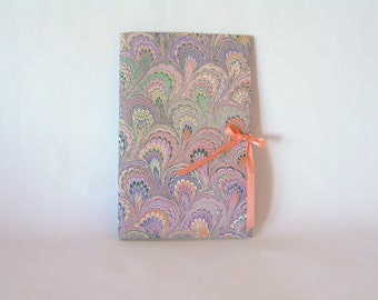 Blank book journal chapbook-peach and lavender marbled bouquet-(6x9in.)-Ready to ship