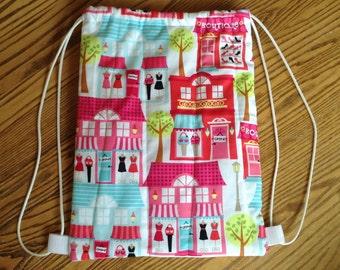 Quilted Drawstring Toddler Backpack, Girl Daycare Bag, Library Bag