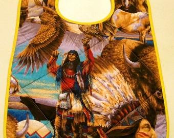Big kids bib with Native American Indian design