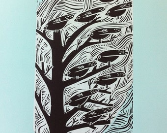 Waiting to Fly limited edition lino cut with chine colle by Liz Toole