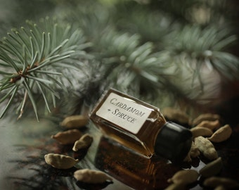 Cardamom + Spruce - Strange Companion Blend™ - Natural Perfume Oil with sweet spicy incense and deep green forest