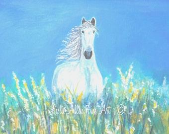 "Horse Art Print Wall Art Horse Painting White Horse Art  White Horse Friesians ""Field Day""  Leslie Allen Fine Art"