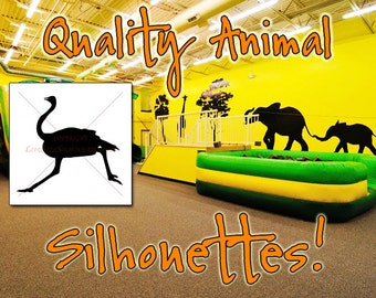 OSTRICH Silhouette Decal 27, Safari Animals, HIGH QUALITY Vinyl Wall Silhouette Decals, Ostrich Decal Wall (Many Ostrich Sticker Sizes)