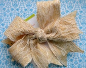 Shabby Chic Burlap and Ivory Lace XL Diva Bow