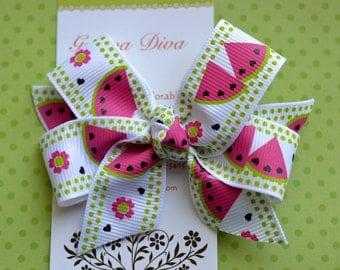 Pink Watermelon Classic Diva Bow