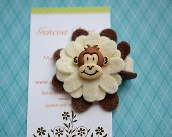 Happy Monkey Felt Flower Hairclip