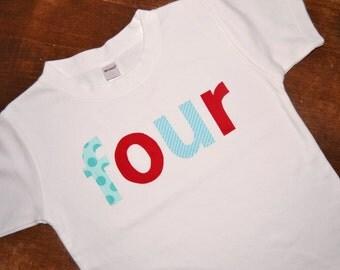 Four Birthday Shirt / 4th birthday tee / READY TO SHIP / Fourth birthday tshirt / Boys 4th Birthday Tee