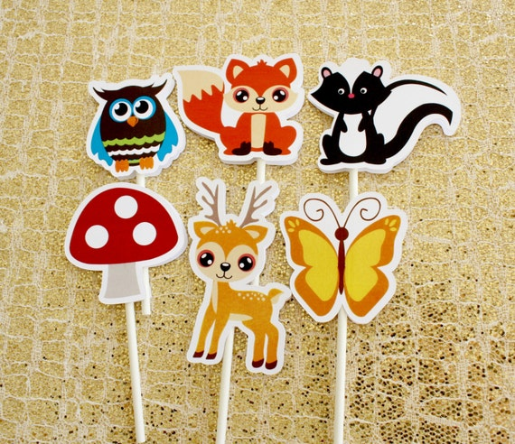 Forest Woodland themed cupcake toppers 12 02