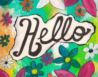 """Hello 5""""x7"""" Blank All Occasion Card with Envelope, Hello Card, Hello Collection, Wholesale Greeting Cards, Hello Stationery"""