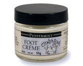 Peppermint Foot Cream, 100% Natural handmade aromatherapy with Shea butter and essential oil to heal your feet, 2 oz glass jar