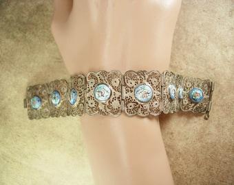 Vintage Persian Enamel Bracelet story telling bracelet with ornate silver filigree Victorian Jewelry