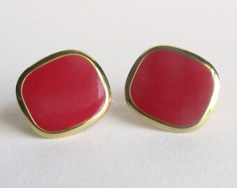 Red Rectangle NAPIER Screw Earrings