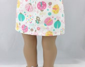 18 Inch Doll Clothes Twill Straight Mini Skirt Pink Yellow and Turquoise Ladybugs and fflowers Girls Toy