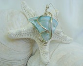 Blue Shell Necklace, Sterling Silver wire wrapped, nautical jewelry