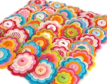 BULK BUY x 20 Handmade Felt Flower Embellishments, Custom Flowers, Felt Flower Apppliques, Felt Craft Flowers, Felt Wedding Flowers