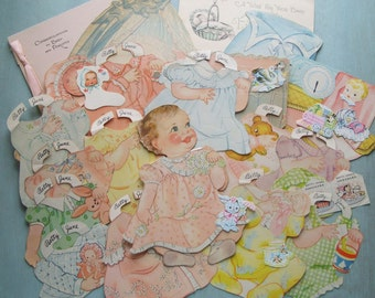 Vintage Baby Betty Jane Paper Doll Inspiration Kit Cradle Cards Tag Seals 1940s