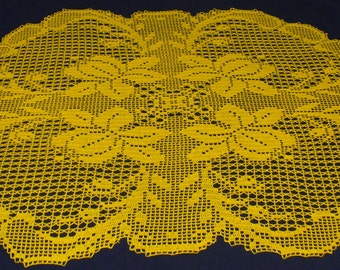 Large Flower Table Topper/Centerpiece in Super-Fine Yellow Thread - ready to ship - Crocheted
