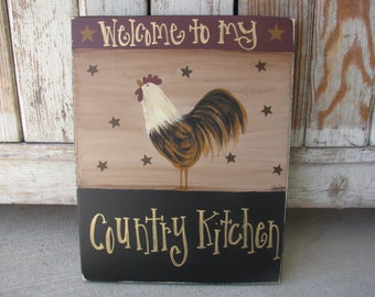 Primitive Country Rooster and Stars Customized Wooden Sign GCC03675