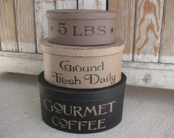 Primitive Gourmet Coffee Oval Set of 3 Stacking Boxes GCC05751