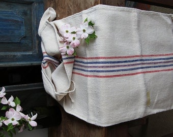 Nr. 645: Grain Sack antique  RED and BLUE  style organic pillow benchcushion 50.39 long wedding decoration