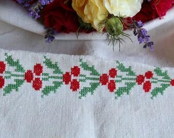 Nr. 857: handloomed linen antique charming TOWEL napkin, LAUNDERED EASTER decoration; tablerunner