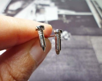 Silver Nail Stud Earrings