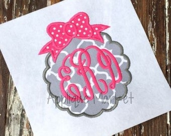 Machine Embroidery Design Applique Scallop Bow 2 Frame INSTANT DOWNLOAD